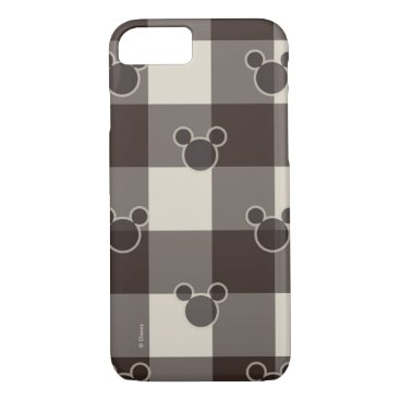 Disney Themed Mickey Mouse   Brown Plaid Pattern iPhone 7 Case