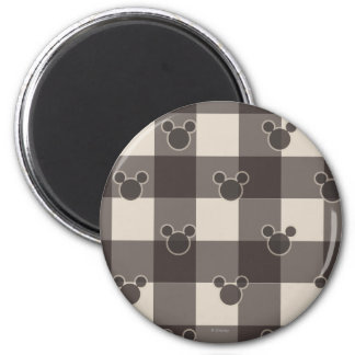 Mickey Mouse | Brown Plaid Pattern Magnet