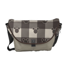 Mickey Mouse | Brown Plaid Pattern Messenger Bag at Zazzle