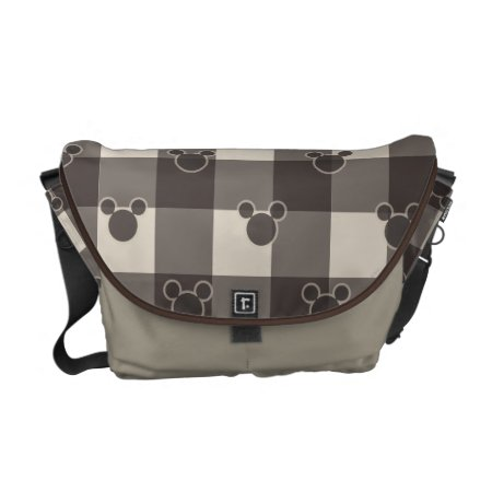 Mickey Mouse | Brown Plaid Pattern Messenger Bag