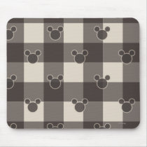 Mickey Mouse   Brown Plaid Pattern Mouse Pad