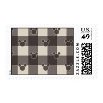 Mickey Mouse | Brown Plaid Pattern Postage