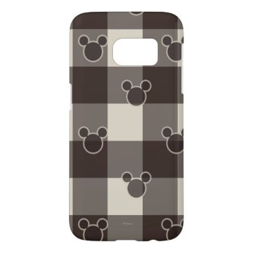 Disney Themed Mickey Mouse   Brown Plaid Pattern Samsung Galaxy S7 Case