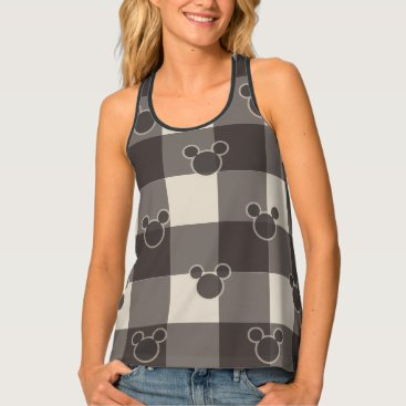 Disney Themed Mickey Mouse   Brown Plaid Pattern Tank Top