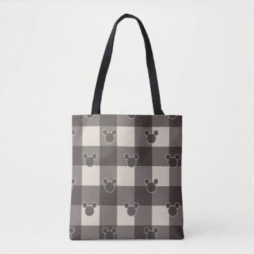 Disney Themed Mickey Mouse   Brown Plaid Pattern Tote Bag