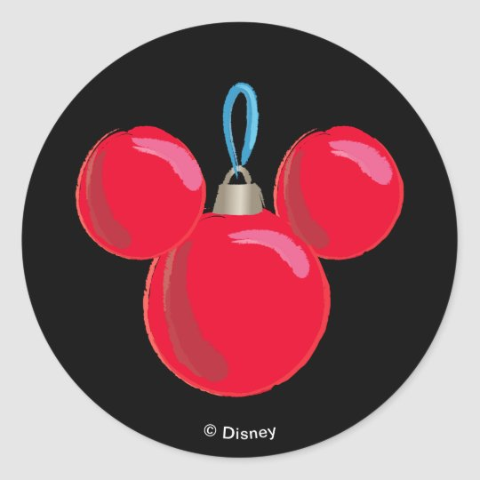 mickey mouse christmas ornament classic round sticker - Mickey Mouse Christmas Ornaments