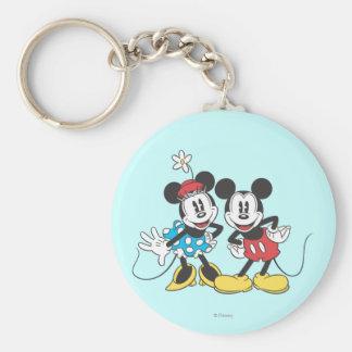 Mickey Mouse clásico y Minnie Llavero Redondo Tipo Pin