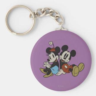 Mickey Mouse clásico y Minnie Mouse Llavero Redondo Tipo Pin