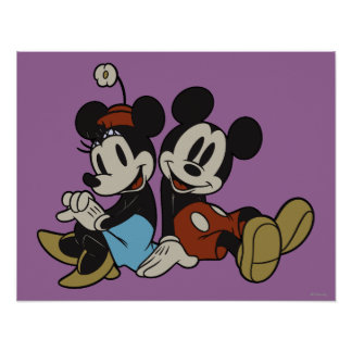 Mickey Mouse clásico y Minnie Mouse Póster