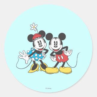 Mickey Mouse clásico y Minnie Pegatina Redonda