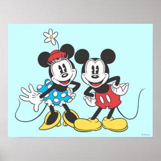 Mickey Mouse clásico y Minnie Póster