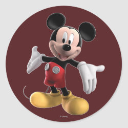 Round Sticker with Welcoming Mickey Mouse in 3D design