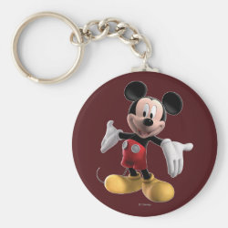 Basic Button Keychain with Welcoming Mickey Mouse in 3D design