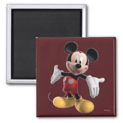 Welcoming Mickey Mouse in 3D Square Magnet