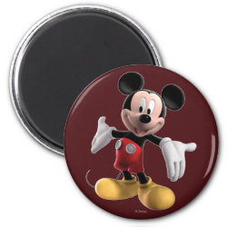 Round Magnet with Welcoming Mickey Mouse in 3D design