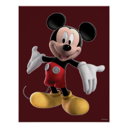 Matte Poster with Welcoming Mickey Mouse in 3D design