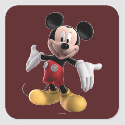 Square Sticker with Welcoming Mickey Mouse in 3D design