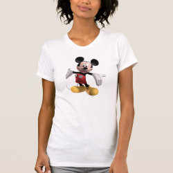 Women's American Apparel Fine Jersey Short Sleeve T-Shirt with Welcoming Mickey Mouse in 3D design