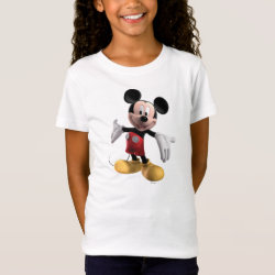 Girls' Fine Jersey T-Shirt with Welcoming Mickey Mouse in 3D design