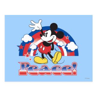 Mickey Mouse con el arco iris patriótico de la paz Postal