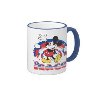 Mickey Mouse con el arco iris patriótico de la paz Taza De Dos Colores