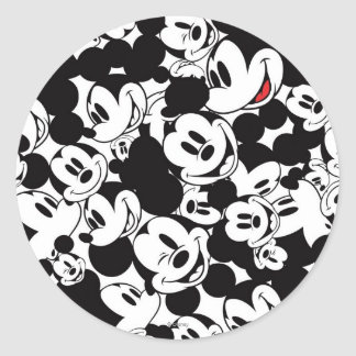 Mickey Mouse | Crowd Pattern Classic Round Sticker