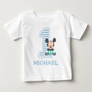Mickey Mouse el | personalizado primer cumpleaños Playera De Bebé