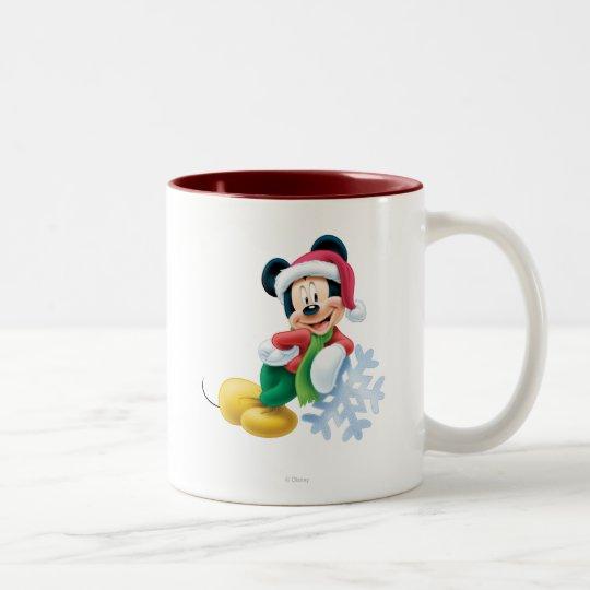 Mickey Mouse en el copo de nieve Taza De Café De Dos Colores