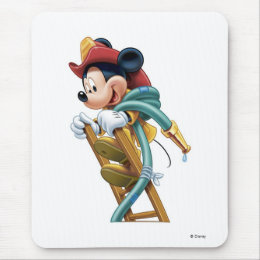 Mickey Mouse Fireman on Ladder Mouse Pad