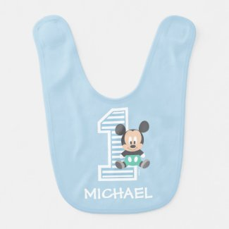 Mickey Mouse | First Birthday Baby Bib