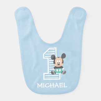Mickey Mouse | First Birthday Baby Bib