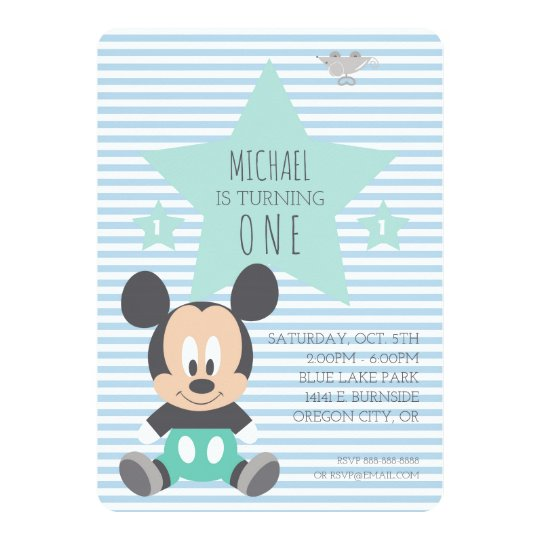 Mickey Mouse First Birthday Invitation Zazzle Com