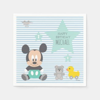 Mickey Mouse | First Birthday Paper Napkins
