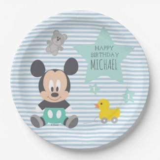 Mickey Mouse | First Birthday Paper Plate