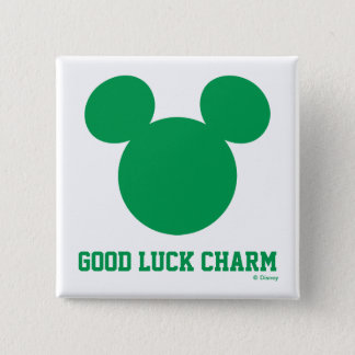 Mickey Mouse Good Luck Charm   St. Patrick's Day Pinback Button