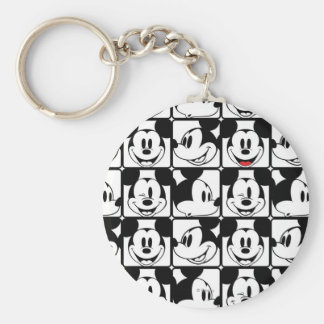Mickey Mouse | Grid Pattern Basic Round Button Keychain