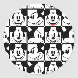 Mickey Mouse   Grid Pattern Classic Round Sticker