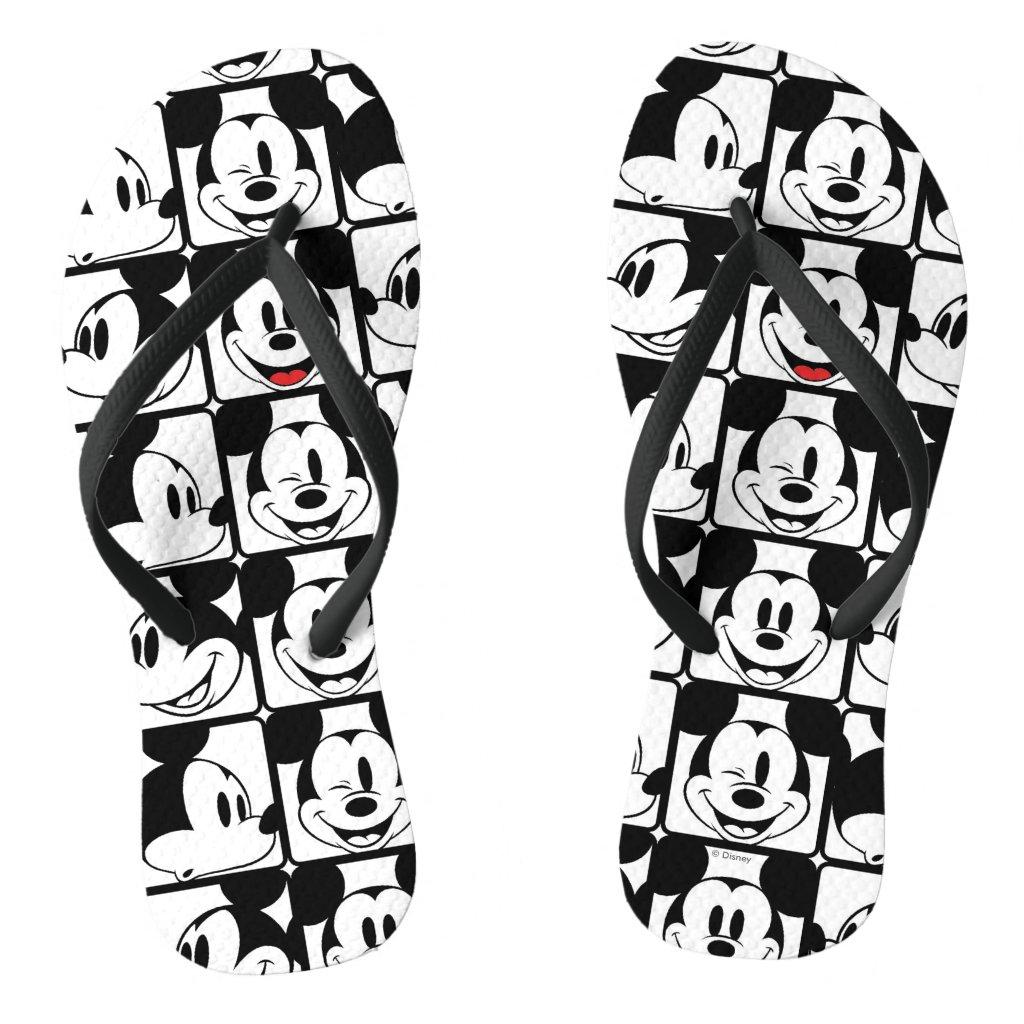 Mickey Mouse | Grid Pattern Flip Flops