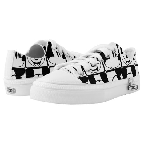 Mickey Mouse | Grid Pattern Low-Top Sneakers