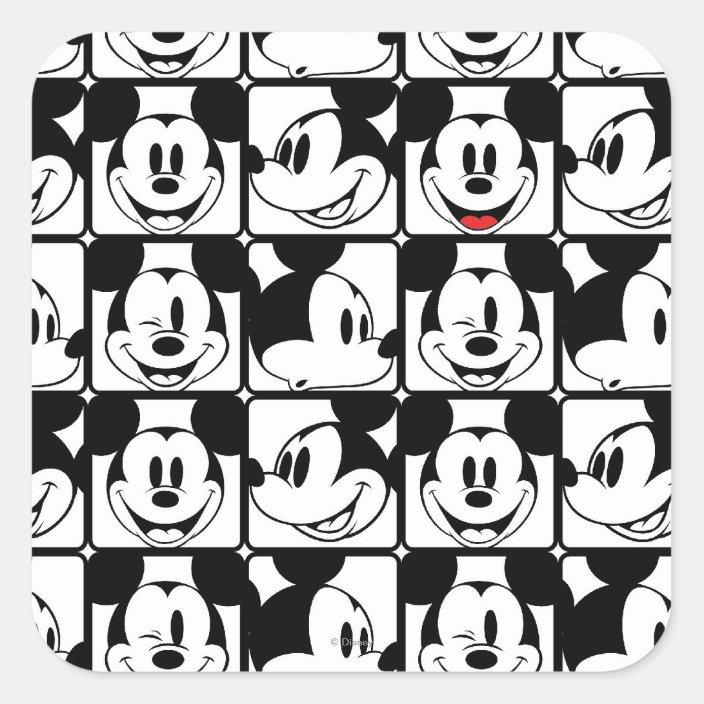 Mickey Mouse Grid Pattern Square Sticker Zazzle Com