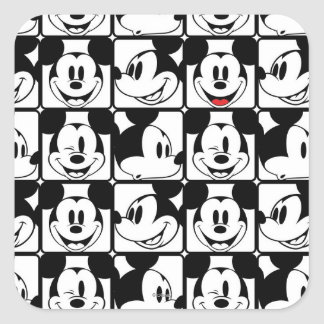 Mickey Mouse | Grid Pattern Square Sticker