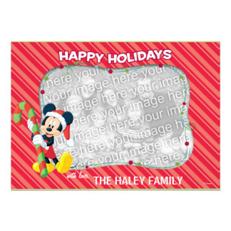 Mickey Mouse Happy Holidays Card Personalized Invite
