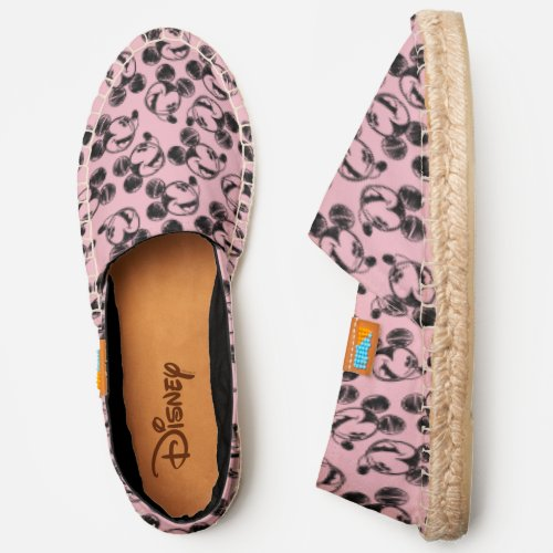 Mickey Mouse Head   Pink Sketch Pattern Espadrilles