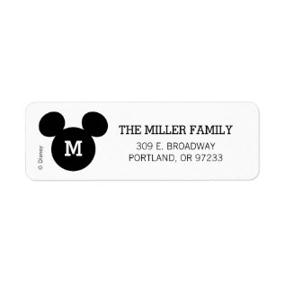 Mickey Mouse Head Silhouette | Black With Monogram Label at Zazzle