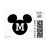 Mickey Mouse Head Silhouette | Black with Monogram Postage