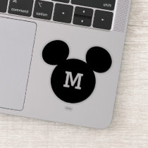 Mickey Mouse Head Silhouette | Black with Monogram Sticker