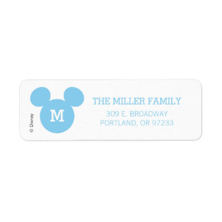 Mickey Mouse Head Silhouette | Blue with Monogram Label