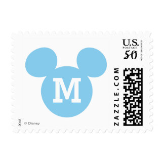 Mickey Mouse Head Silhouette | Blue with Monogram Postage