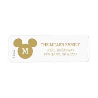 Mickey Mouse Head Silhouette | Gold with Monogram Label