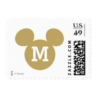 Mickey Mouse Head Silhouette | Gold with Monogram Postage